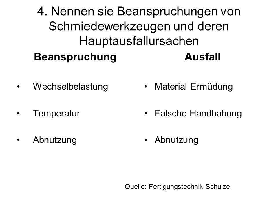 4. Nennen sie Beanspruchungen von Schmiedewerkzeugen und deren Hauptausfallursachen Beanspruchung Wechselbelastung Temperatur Abnutzung Ausfall Materi