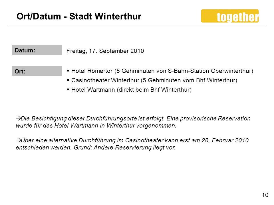 Ort/Datum - Stadt Winterthur 10 Datum: Freitag, 17.
