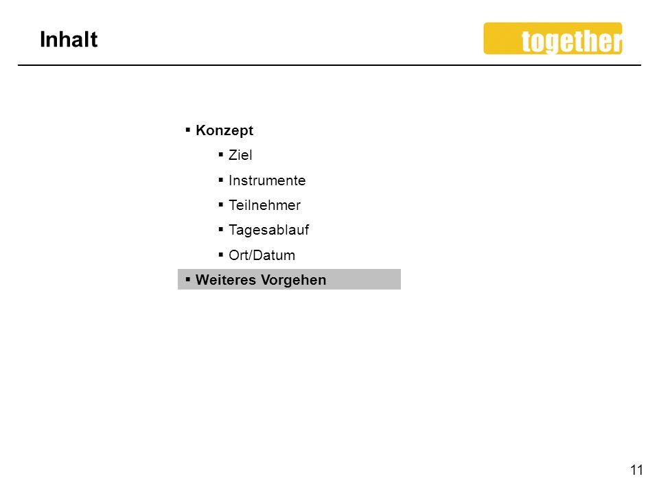 Inhalt 11 Konzept Ziel Instrumente Teilnehmer Tagesablauf Ort/Datum Weiteres Vorgehen