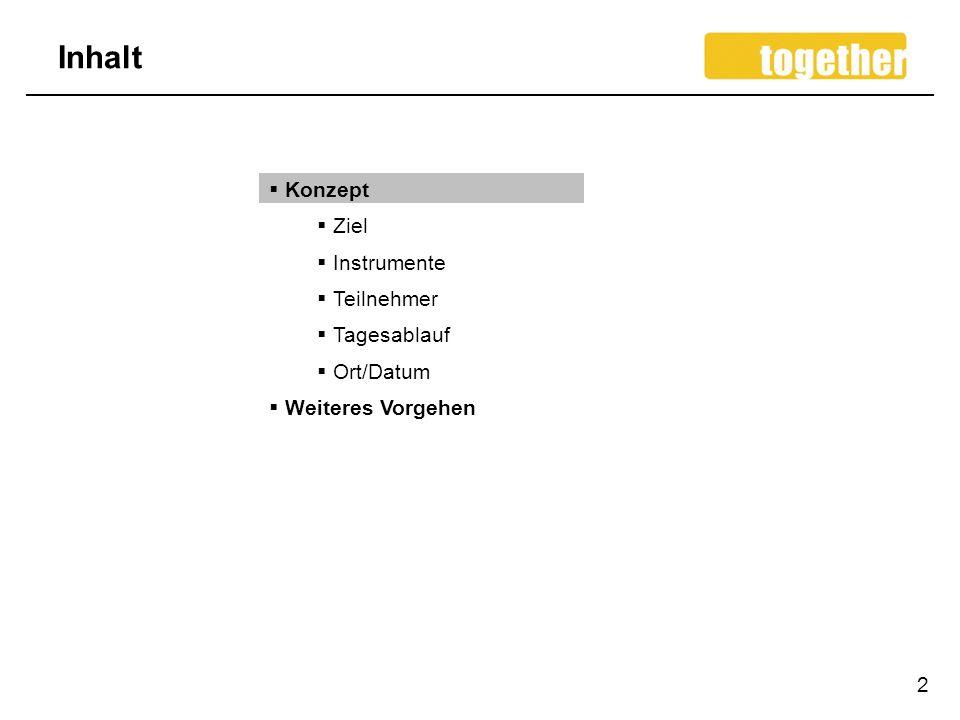 Inhalt 2 Konzept Ziel Instrumente Teilnehmer Tagesablauf Ort/Datum Weiteres Vorgehen