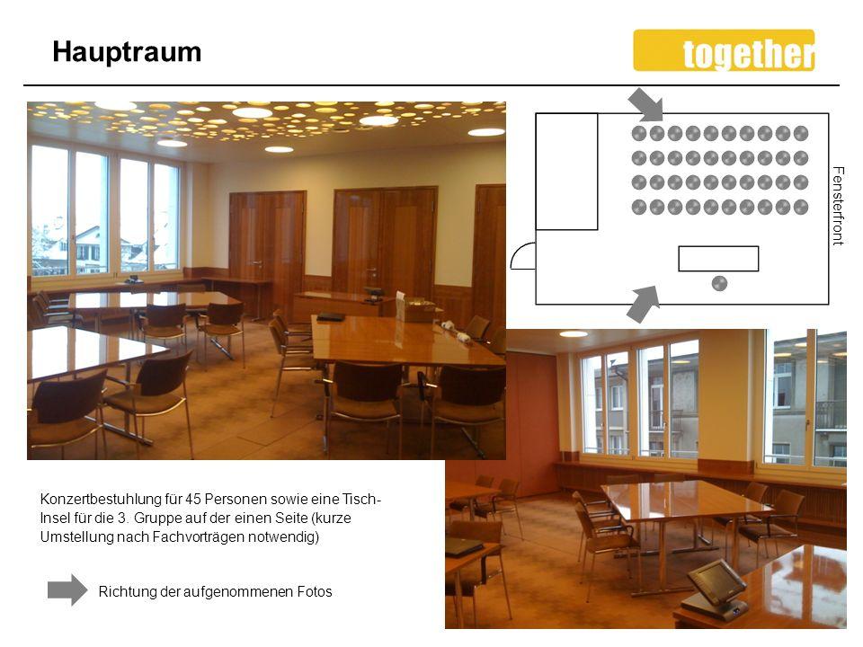 Hauptraum 8 Konzertbestuhlung für 45 Personen sowie eine Tisch- Insel für die 3.
