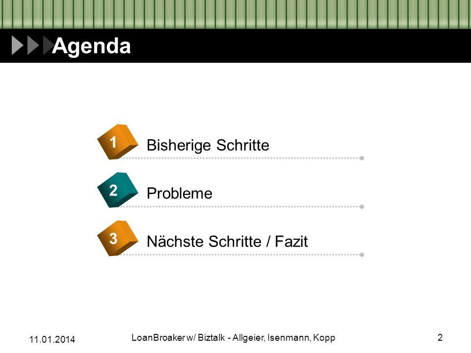 11.01.2014 Agenda Bisherige Schritte 1 Probleme 2 Nächste Schritte / Fazit 3 2LoanBroaker w/ Biztalk - Allgeier, Isenmann, Kopp