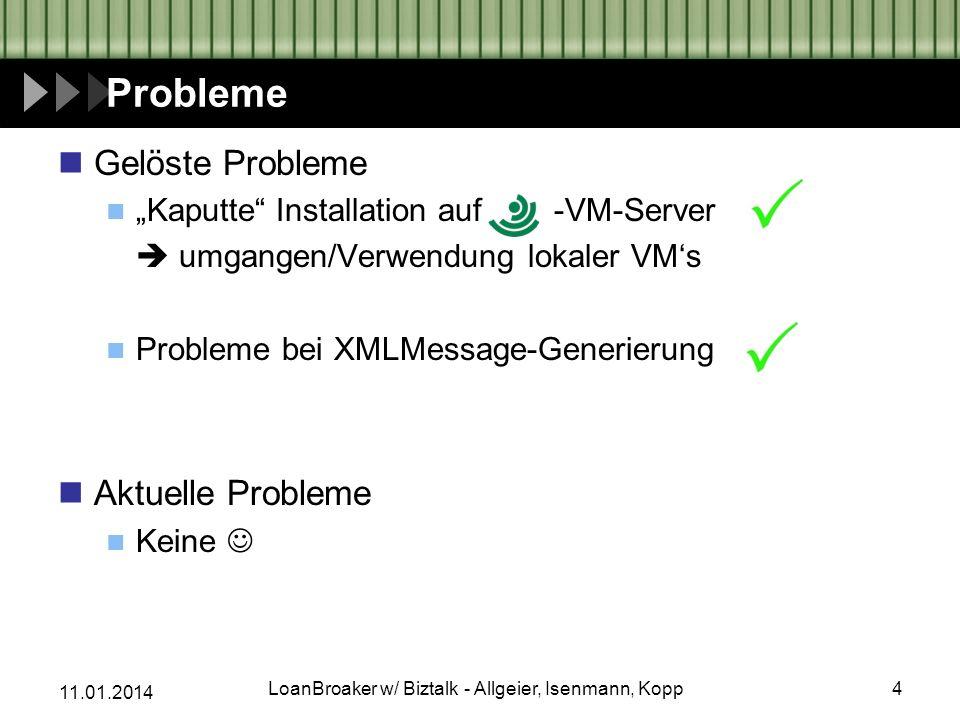 11.01.2014 Probleme Gelöste Probleme Kaputte Installation auf -VM-Server umgangen/Verwendung lokaler VMs Probleme bei XMLMessage-Generierung Aktuelle