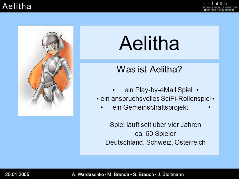 A e l i t h aA e l i t h a 25.01.2005A. Wardaschko M. Brenda S. Brauch J. Stoltmann Aelitha Was ist Aelitha? ein Play-by-eMail Spiel ein anspruchsvoll
