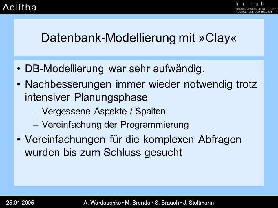 A e l i t h aA e l i t h a 25.01.2005A. Wardaschko M. Brenda S. Brauch J. Stoltmann Datenbank-Modellierung mit »Clay« DB-Modellierung war sehr aufwänd