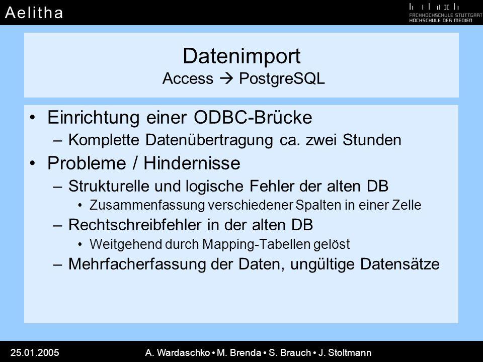 A e l i t h aA e l i t h a 25.01.2005A. Wardaschko M. Brenda S. Brauch J. Stoltmann Datenimport Access PostgreSQL Einrichtung einer ODBC-Brücke –Kompl