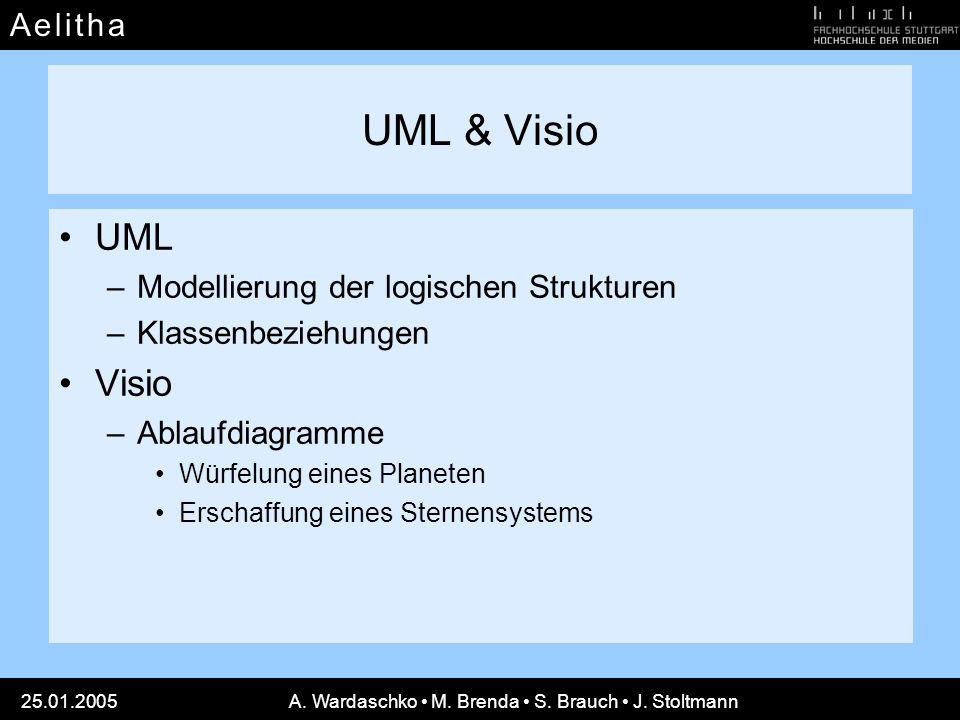 A e l i t h aA e l i t h a 25.01.2005A. Wardaschko M. Brenda S. Brauch J. Stoltmann UML & Visio UML –Modellierung der logischen Strukturen –Klassenbez