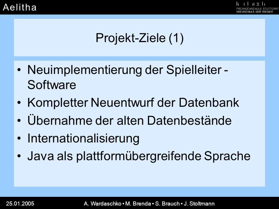 A e l i t h aA e l i t h a 25.01.2005A. Wardaschko M. Brenda S. Brauch J. Stoltmann Projekt-Ziele (1) Neuimplementierung der Spielleiter - Software Ko