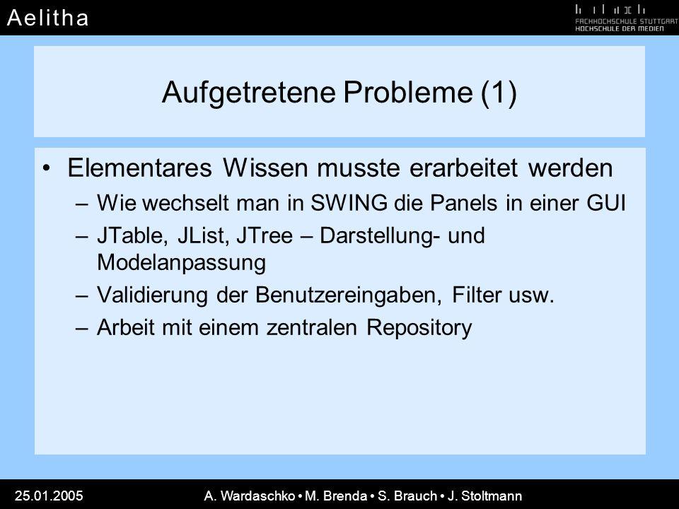 A e l i t h aA e l i t h a 25.01.2005A. Wardaschko M. Brenda S. Brauch J. Stoltmann Aufgetretene Probleme (1) Elementares Wissen musste erarbeitet wer