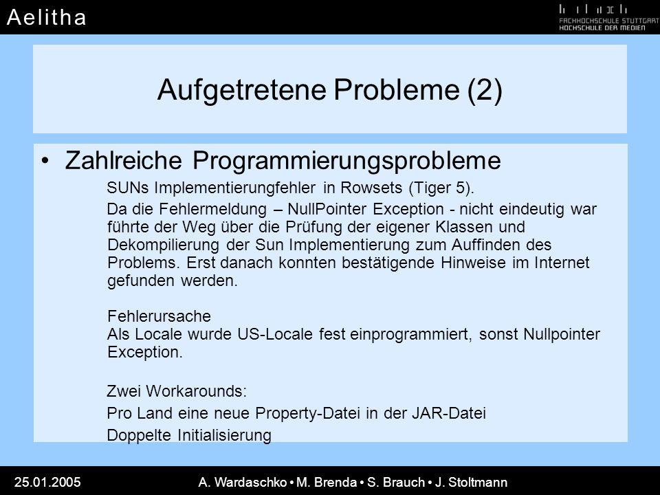 A e l i t h aA e l i t h a 25.01.2005A. Wardaschko M. Brenda S. Brauch J. Stoltmann Aufgetretene Probleme (2) Zahlreiche Programmierungsprobleme SUNs