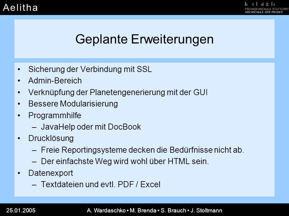 A e l i t h aA e l i t h a 25.01.2005A. Wardaschko M. Brenda S. Brauch J. Stoltmann Geplante Erweiterungen Sicherung der Verbindung mit SSL Admin-Bere