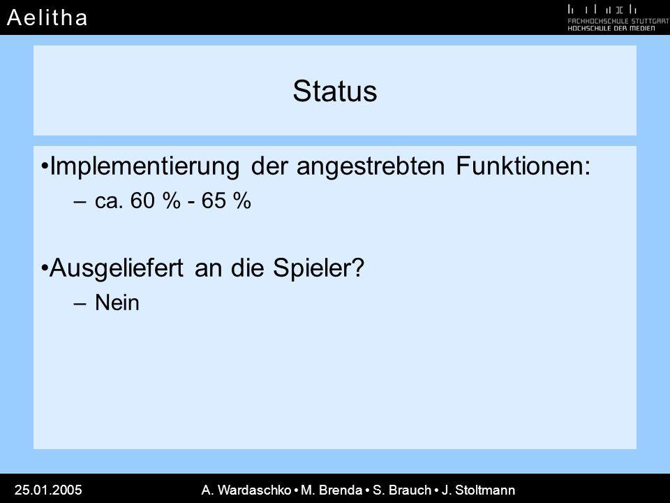 A e l i t h aA e l i t h a 25.01.2005A. Wardaschko M. Brenda S. Brauch J. Stoltmann Status Implementierung der angestrebten Funktionen: –ca. 60 % - 65
