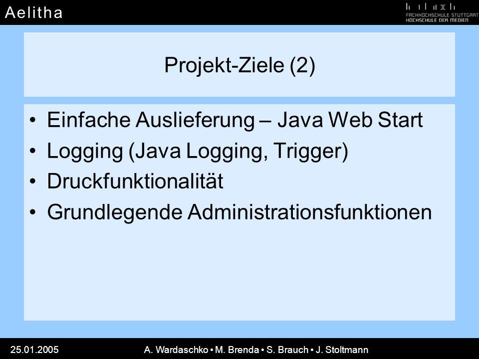 A e l i t h aA e l i t h a 25.01.2005A. Wardaschko M. Brenda S. Brauch J. Stoltmann Projekt-Ziele (2) Einfache Auslieferung – Java Web Start Logging (