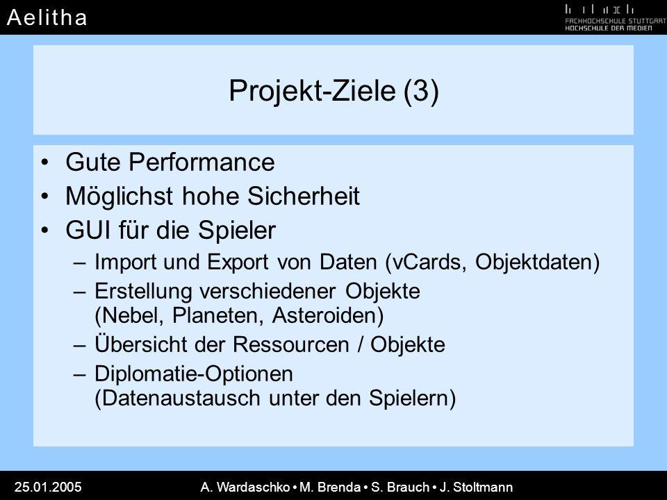 A e l i t h aA e l i t h a 25.01.2005A. Wardaschko M. Brenda S. Brauch J. Stoltmann Projekt-Ziele (3) Gute Performance Möglichst hohe Sicherheit GUI f