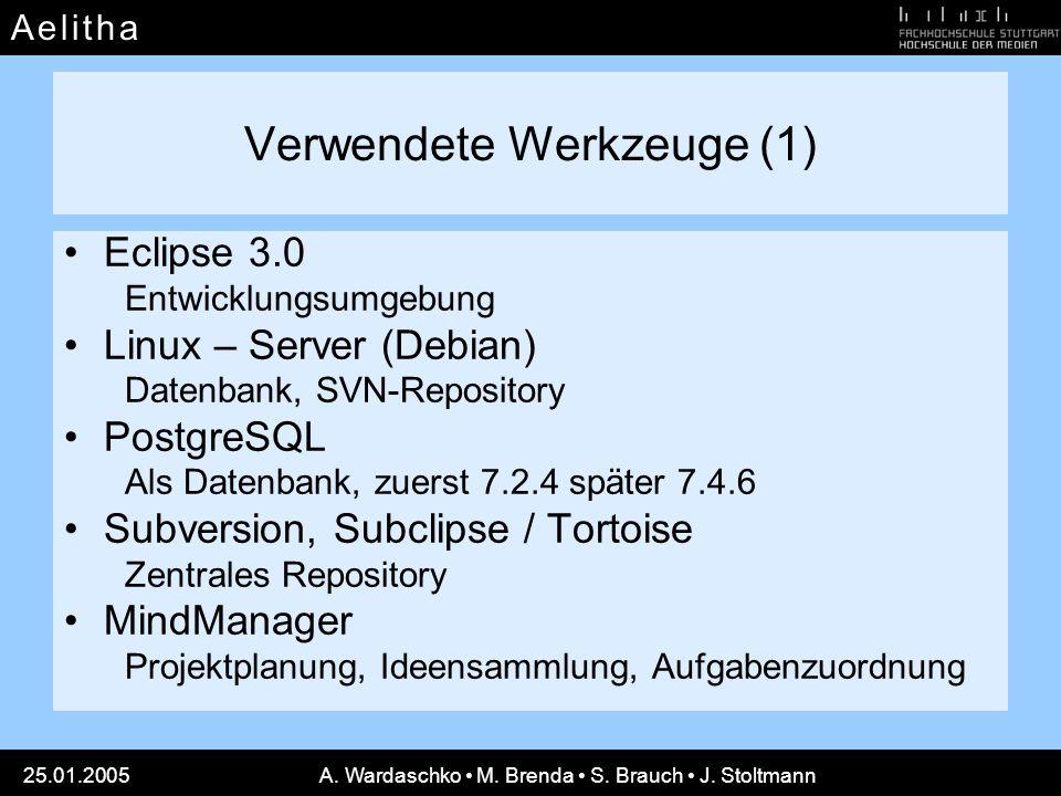 A e l i t h aA e l i t h a 25.01.2005A. Wardaschko M. Brenda S. Brauch J. Stoltmann Verwendete Werkzeuge (1) Eclipse 3.0 Entwicklungsumgebung Linux –