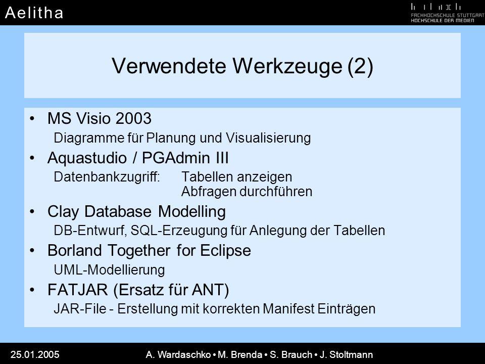 A e l i t h aA e l i t h a 25.01.2005A. Wardaschko M. Brenda S. Brauch J. Stoltmann Verwendete Werkzeuge (2) MS Visio 2003 Diagramme für Planung und V