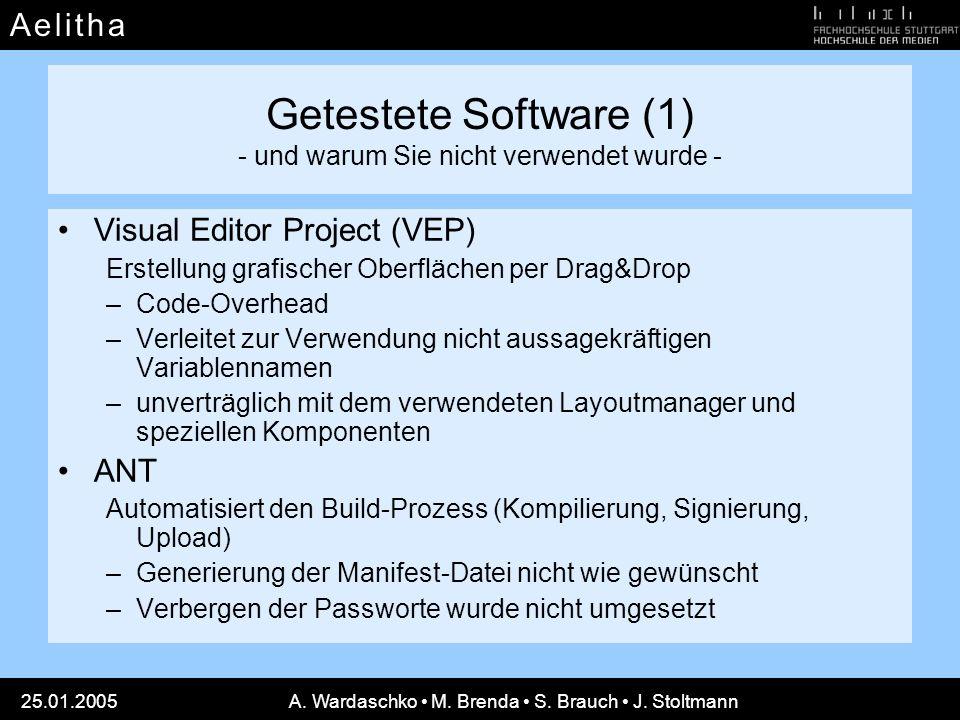 A e l i t h aA e l i t h a 25.01.2005A. Wardaschko M. Brenda S. Brauch J. Stoltmann Getestete Software (1) - und warum Sie nicht verwendet wurde - Vis