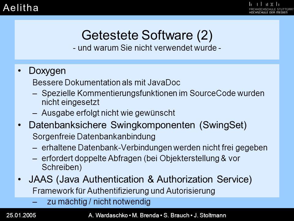 A e l i t h aA e l i t h a 25.01.2005A. Wardaschko M. Brenda S. Brauch J. Stoltmann Getestete Software (2) - und warum Sie nicht verwendet wurde - Dox