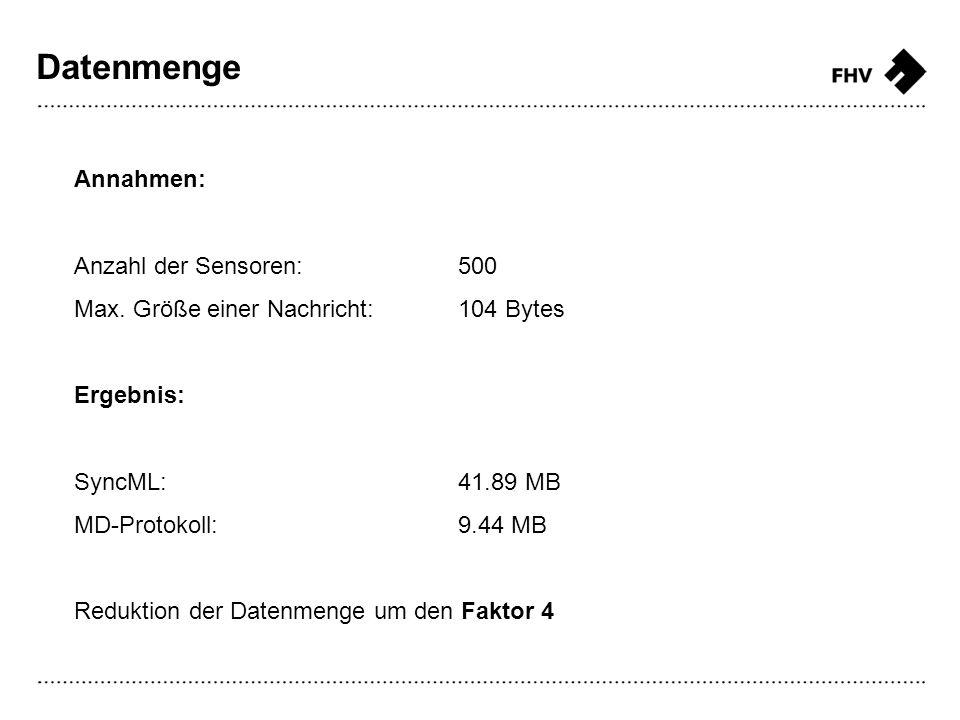 Datenmenge Annahmen: Anzahl der Sensoren:500 Max. Größe einer Nachricht:104 Bytes Ergebnis: SyncML:41.89 MB MD-Protokoll:9.44 MB Reduktion der Datenme