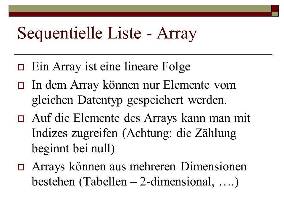 Sequentielle Liste - Array Ein Array ist eine lineare Folge In dem Array können nur Elemente vom gleichen Datentyp gespeichert werden. Auf die Element