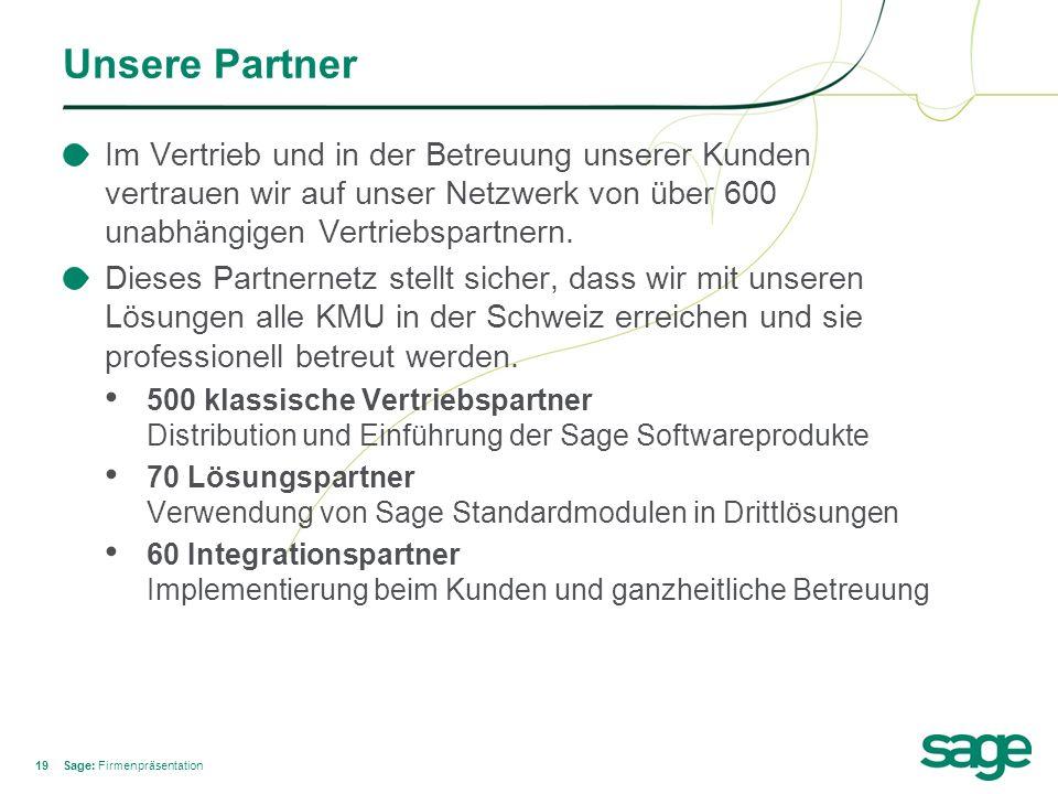 19 Unsere Partner Im Vertrieb und in der Betreuung unserer Kunden vertrauen wir auf unser Netzwerk von über 600 unabhängigen Vertriebspartnern. Dieses