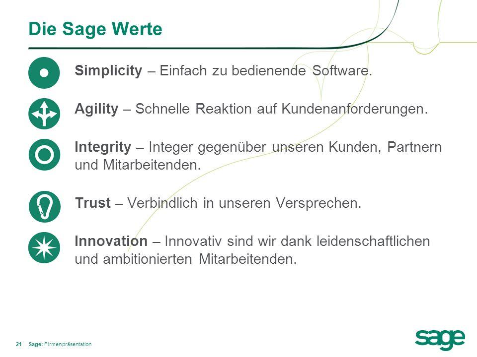 21 Die Sage Werte Simplicity – Einfach zu bedienende Software. Agility – Schnelle Reaktion auf Kundenanforderungen. Integrity – Integer gegenüber unse