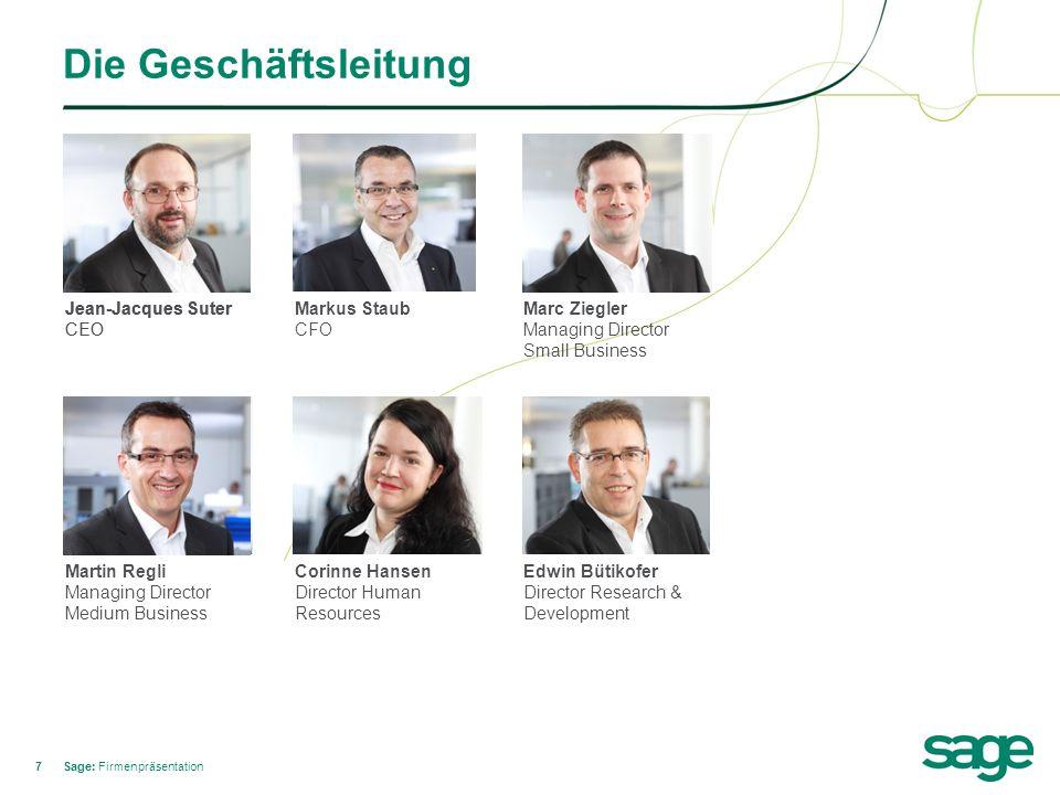 18 Ansprechpartner im Medium Business Sage: Firmenpräsentation Remo Stecher Sales Walter Kaufmann Product Marketing Erich Raminger Customer Services Ralf Schneider Prof.