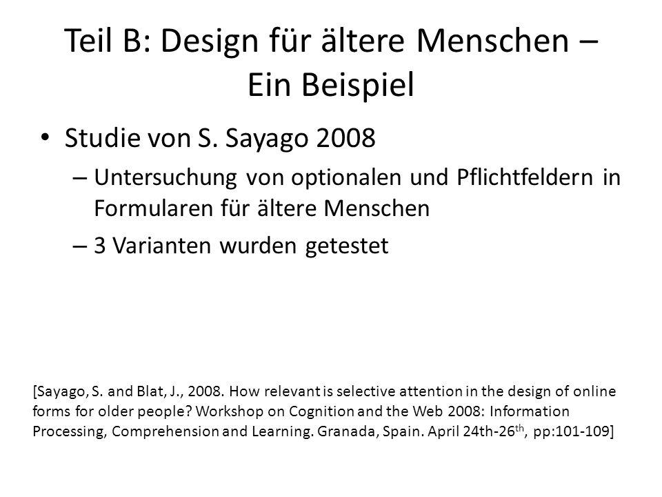 Teil B: Design für ältere Menschen – Ein Beispiel Studie von S.