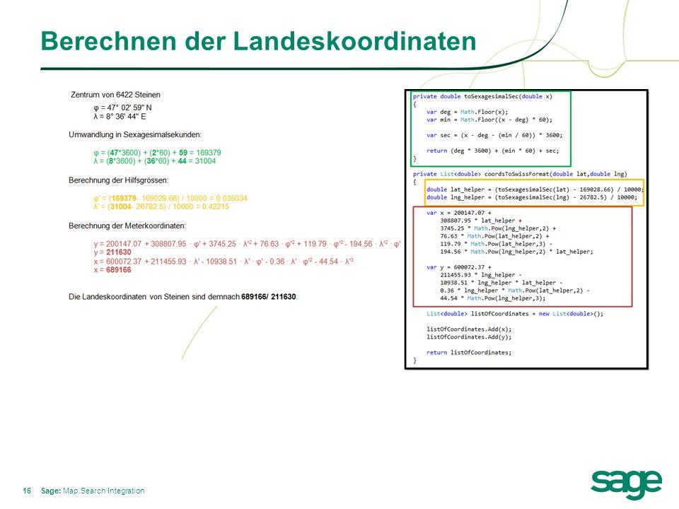 16 Berechnen der Landeskoordinaten Sage: Map.Search Integration