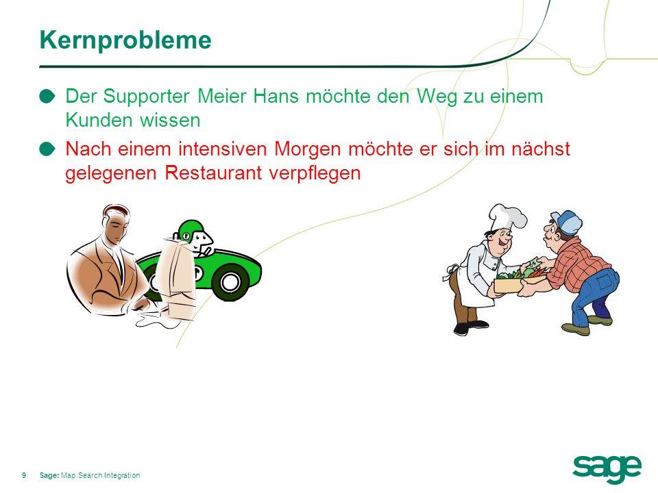 99 Kernprobleme Sage: Map.Search Integration Der Supporter Meier Hans möchte den Weg zu einem Kunden wissen Nach einem intensiven Morgen möchte er sich im nächst gelegenen Restaurant verpflegen