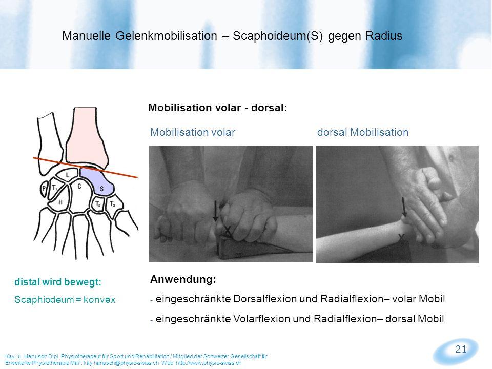 21 Mobilisation volar - dorsal: Mobilisation volar dorsal Mobilisation Manuelle Gelenkmobilisation – Scaphoideum(S) gegen Radius Kay- u. Hanusch Dipl.