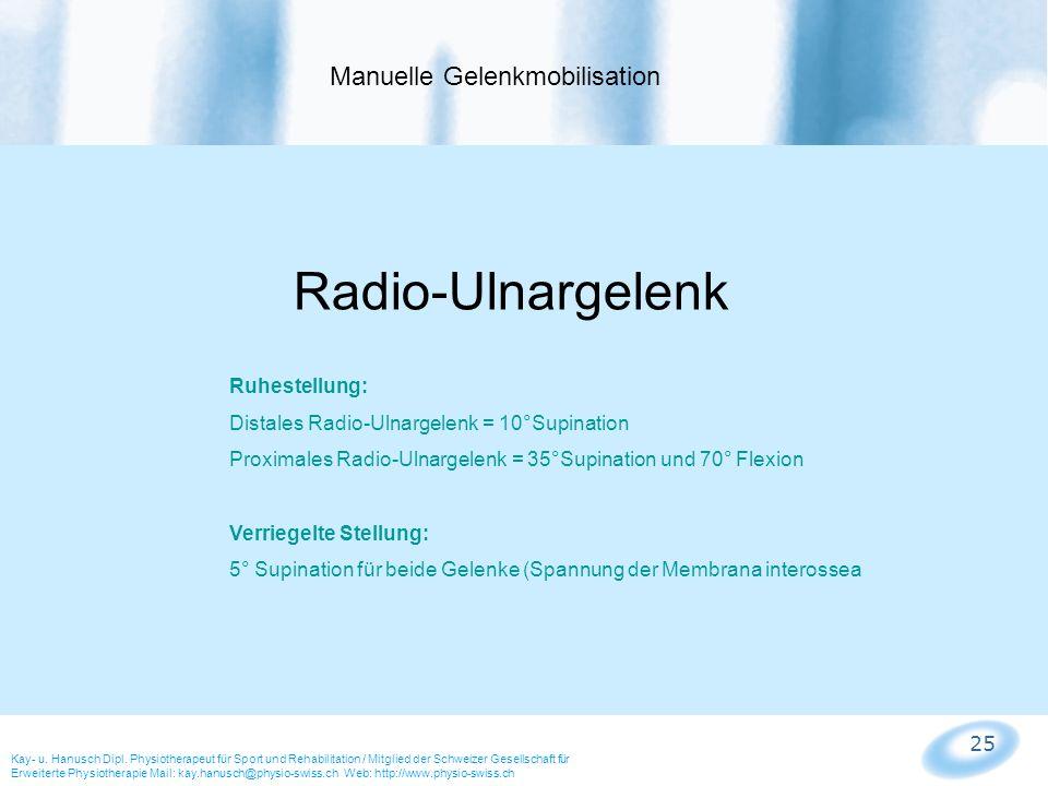 25 Manuelle Gelenkmobilisation Kay- u. Hanusch Dipl. Physiotherapeut für Sport und Rehabilitation / Mitglied der Schweizer Gesellschaft für Erweiterte