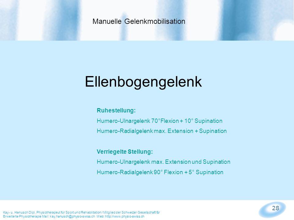 28 Manuelle Gelenkmobilisation Kay- u. Hanusch Dipl. Physiotherapeut für Sport und Rehabilitation / Mitglied der Schweizer Gesellschaft für Erweiterte