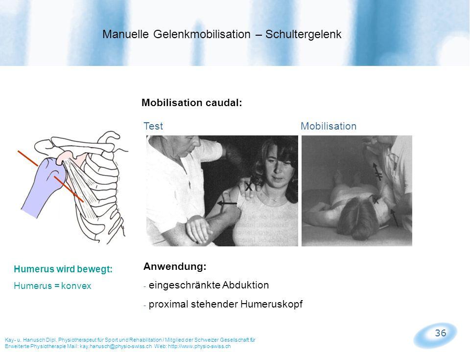 36 Mobilisation caudal: Test Mobilisation Manuelle Gelenkmobilisation – Schultergelenk Kay- u. Hanusch Dipl. Physiotherapeut für Sport und Rehabilitat