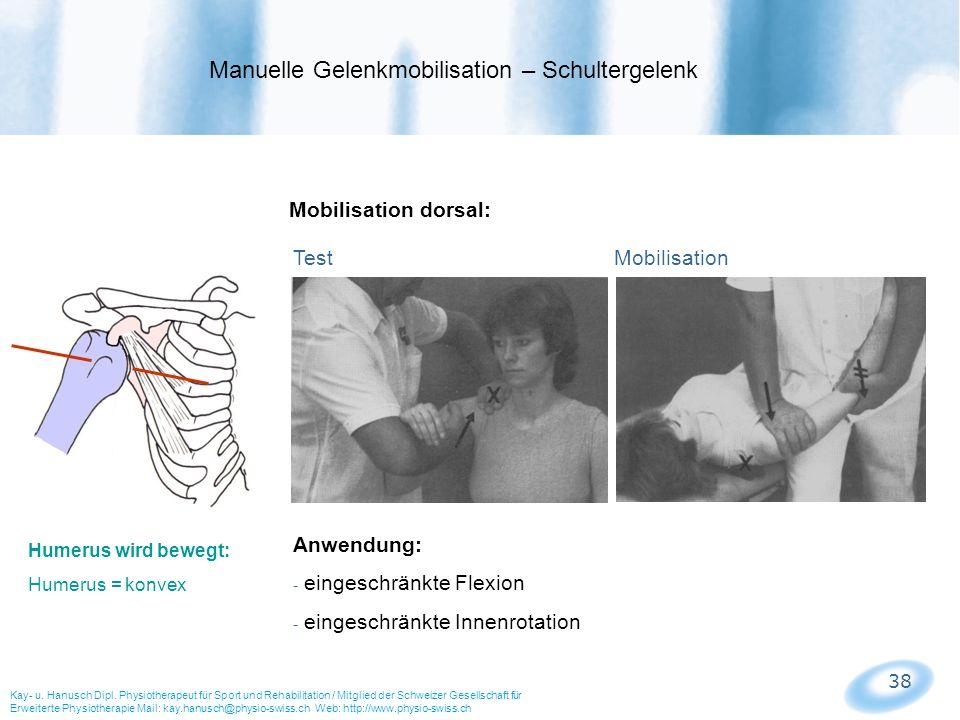 38 Mobilisation dorsal: Test Mobilisation Manuelle Gelenkmobilisation – Schultergelenk Kay- u. Hanusch Dipl. Physiotherapeut für Sport und Rehabilitat