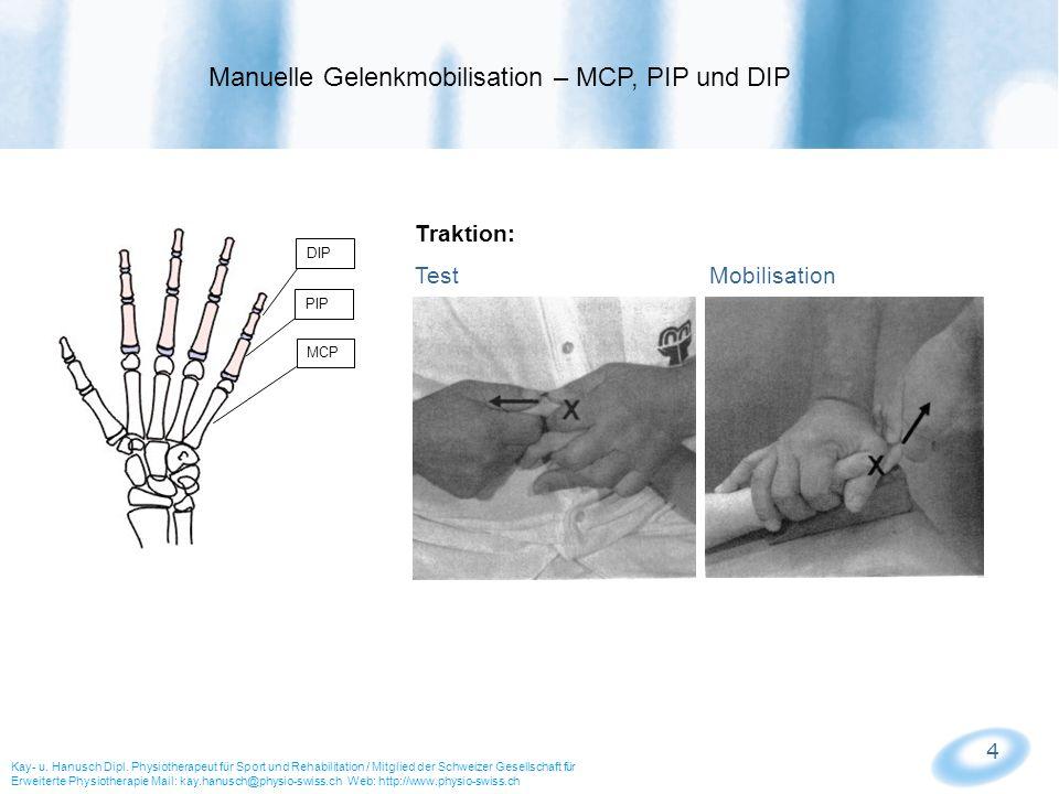 5 MCP PIP DIP Mobilisation volar und dorsal: Test Mobilisation Anwendung: - eingeschränkte Flexion (volar-gleiten) - eingeschränkte Extension (dorsal-gleiten) Manuelle Gelenkmobilisation – MCP, PIP und DIP Kay- u.