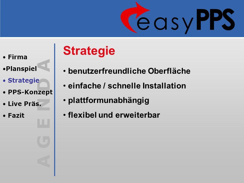 A G E N D A Firma Planspiel Strategie PPS-Konzept Live Präs. Fazit Strategie benutzerfreundliche Oberfläche einfache / schnelle Installation plattform