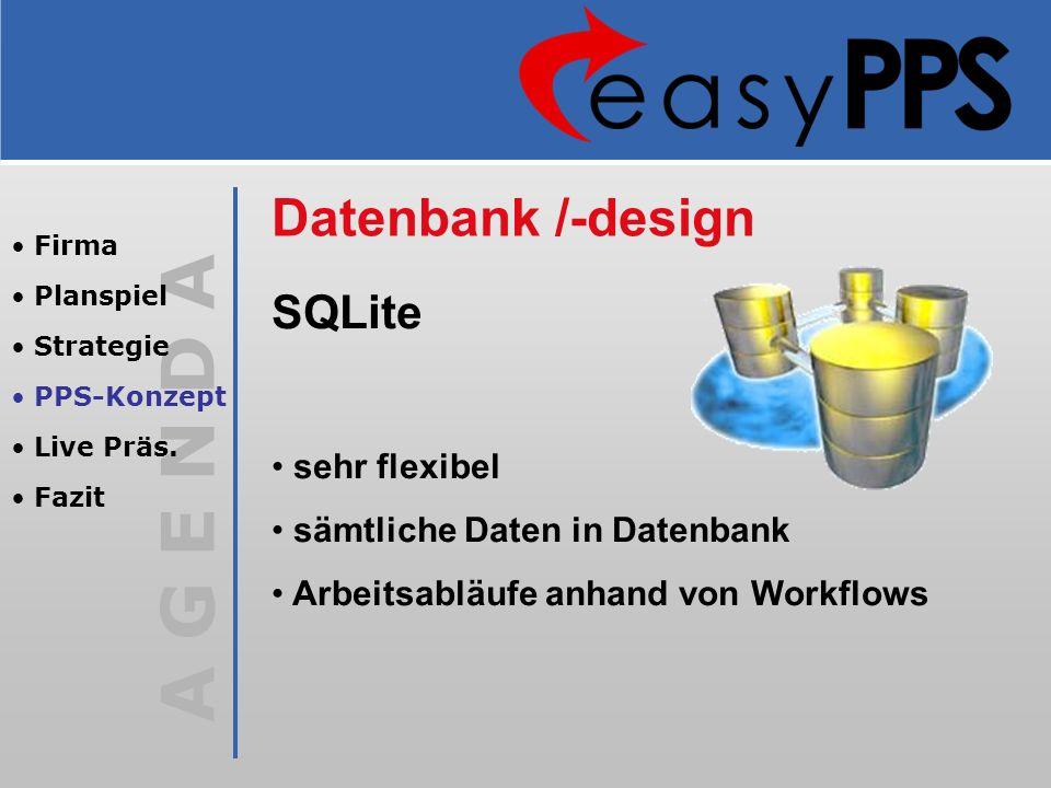 A G E N D A Datenbank /-design SQLite sehr flexibel sämtliche Daten in Datenbank Arbeitsabläufe anhand von Workflows Firma Planspiel Strategie PPS-Kon