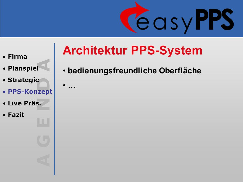 A G E N D A Architektur PPS-System bedienungsfreundliche Oberfläche … Firma Planspiel Strategie PPS-Konzept Live Präs. Fazit