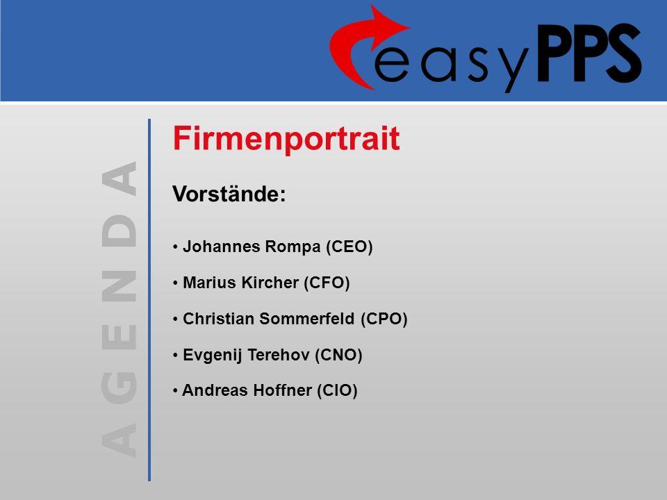 A G E N D A Johannes Rompa (CEO) Marius Kircher (CFO) Christian Sommerfeld (CPO) Evgenij Terehov (CNO) Andreas Hoffner (CIO) Firmenportrait Vorstände: