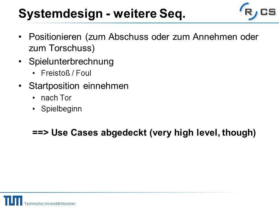 Technische Universität München Systemdesign - weitere Seq. Positionieren (zum Abschuss oder zum Annehmen oder zum Torschuss) Spielunterbrechnung Freis
