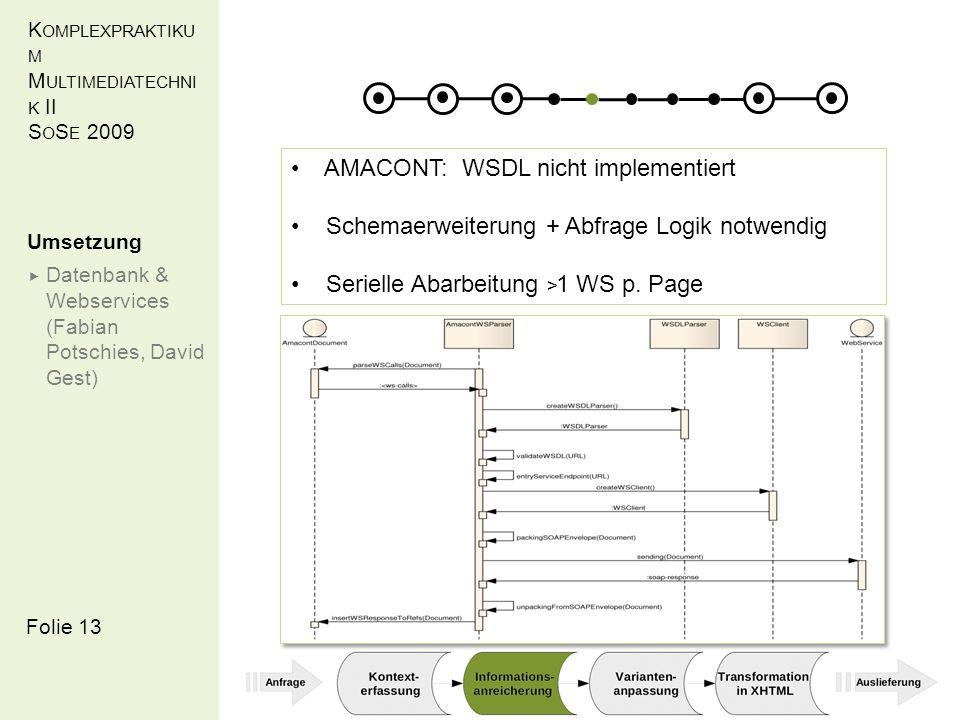 K OMPLEXPRAKTIKU M M ULTIMEDIATECHNI K II S O S E 2009 Folie 13 Umsetzung Datenbank & Webservices (Fabian Potschies, David Gest) AMACONT: WSDL nicht implementiert Schemaerweiterung + Abfrage Logik notwendig Serielle Abarbeitung > 1 WS p.
