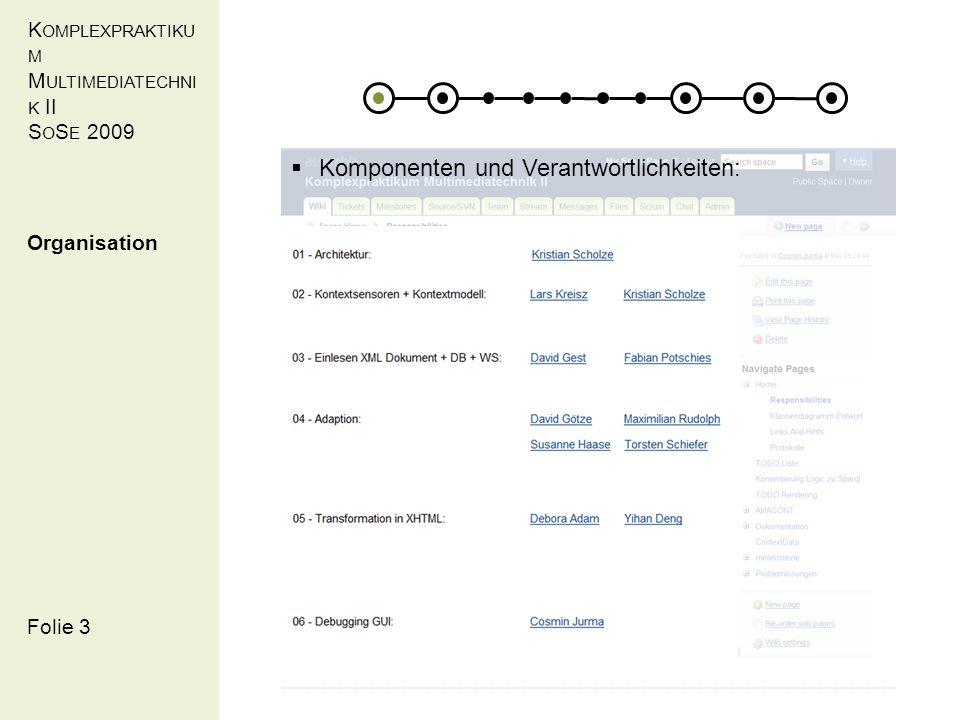 K OMPLEXPRAKTIKU M M ULTIMEDIATECHNI K II S O S E 2009 Folie 3 Organisation Komponenten und Verantwortlichkeiten: