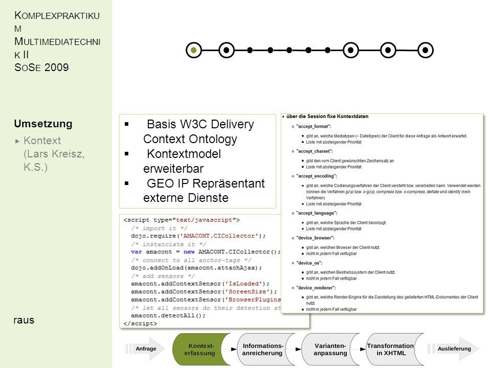 K OMPLEXPRAKTIKU M M ULTIMEDIATECHNI K II S O S E 2009 raus Umsetzung Kontext (Lars Kreisz, K.S.) Basis W3C Delivery Context Ontology Kontextmodel erweiterbar GEO IP Repräsentant externe Dienste