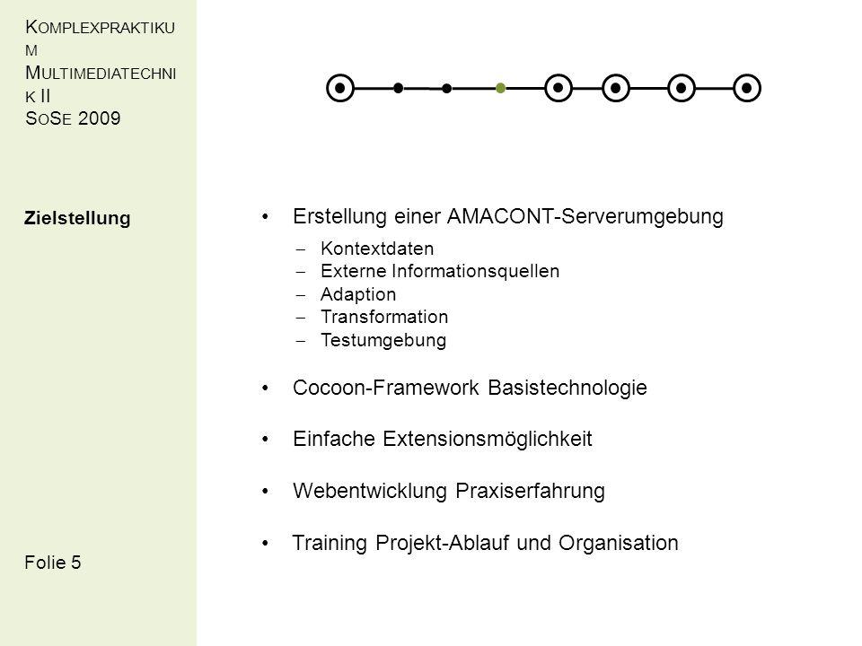 K OMPLEXPRAKTIKU M M ULTIMEDIATECHNI K II S O S E 2009 Folie 3 Umsetzung Transformation XHTML (Debora Adam, Yihan Deng, M.R.)