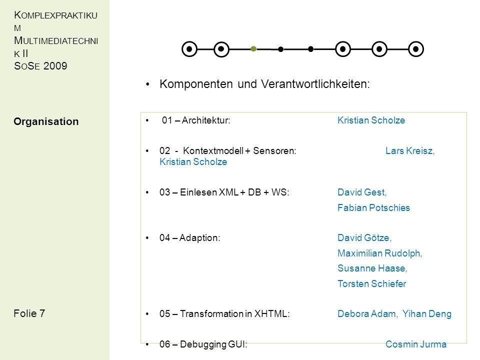 K OMPLEXPRAKTIKU M M ULTIMEDIATECHNI K II S O S E 2009 Folie 18 Auswahl Cocoon Projekt Konfiguration Servlet- Container Log-Ausgabe Umsetzung Cocoon Debugger (Cosmin Jurma)