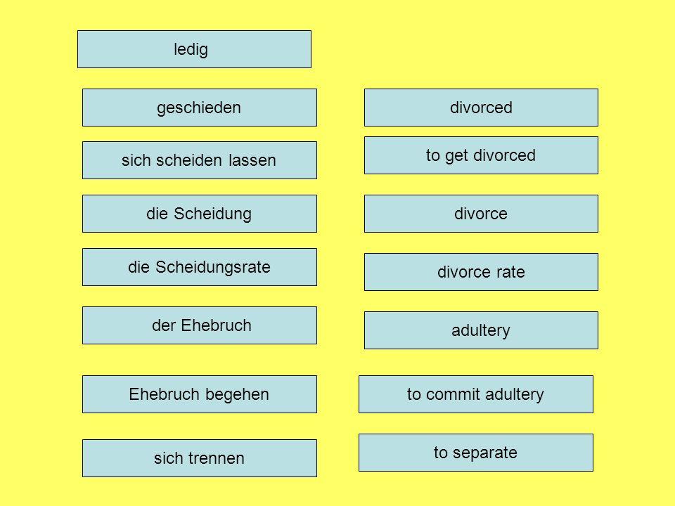 ledig divorce divorce rate adultery to commit adultery to separate die Scheidung die Scheidungsrate der Ehebruch Ehebruch begehen sich trennen geschieden sich scheiden lassen divorced to get divorced