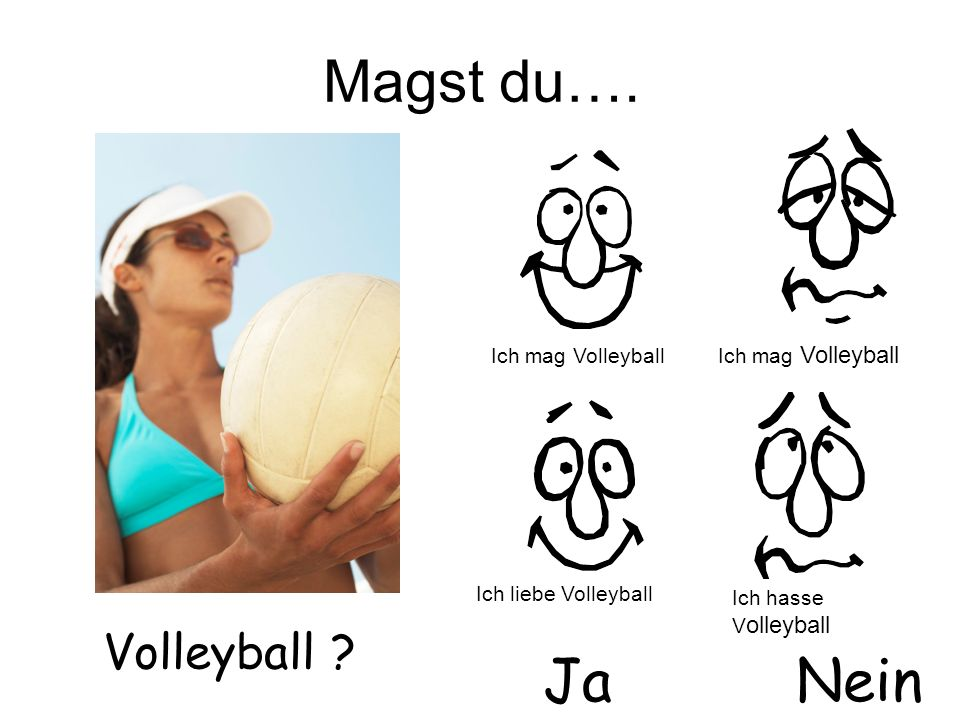 Magst du…. Volleyball ? JaNein Ich mag Volleyball Ich liebe Volleyball Ich mag Volleyball Ich hasse V olleyball