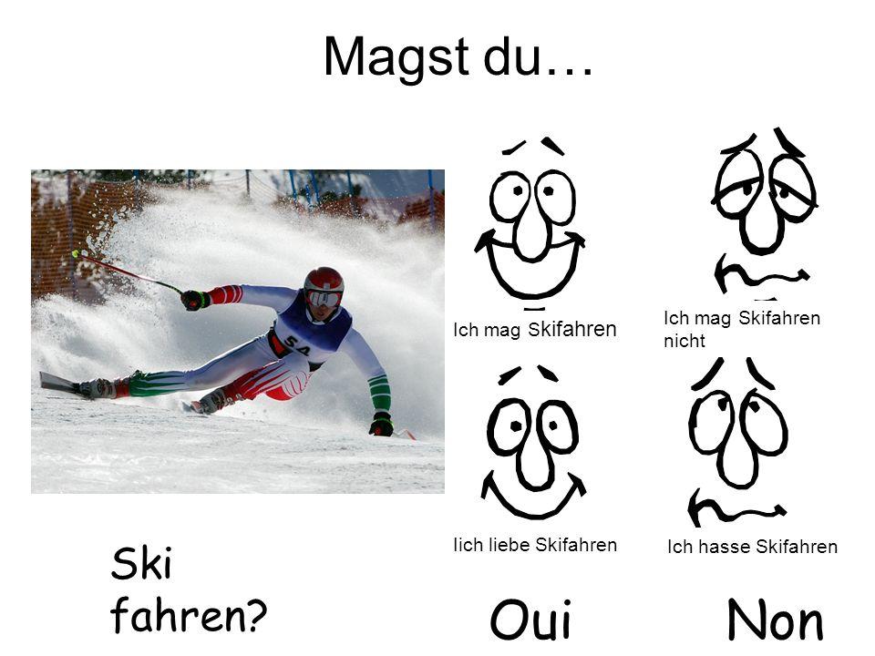 Magst du… Ski fahren? OuiNon Ich mag S kifahren Iich liebe Skifahren Ich mag Skifahren nicht Ich hasse Skifahren