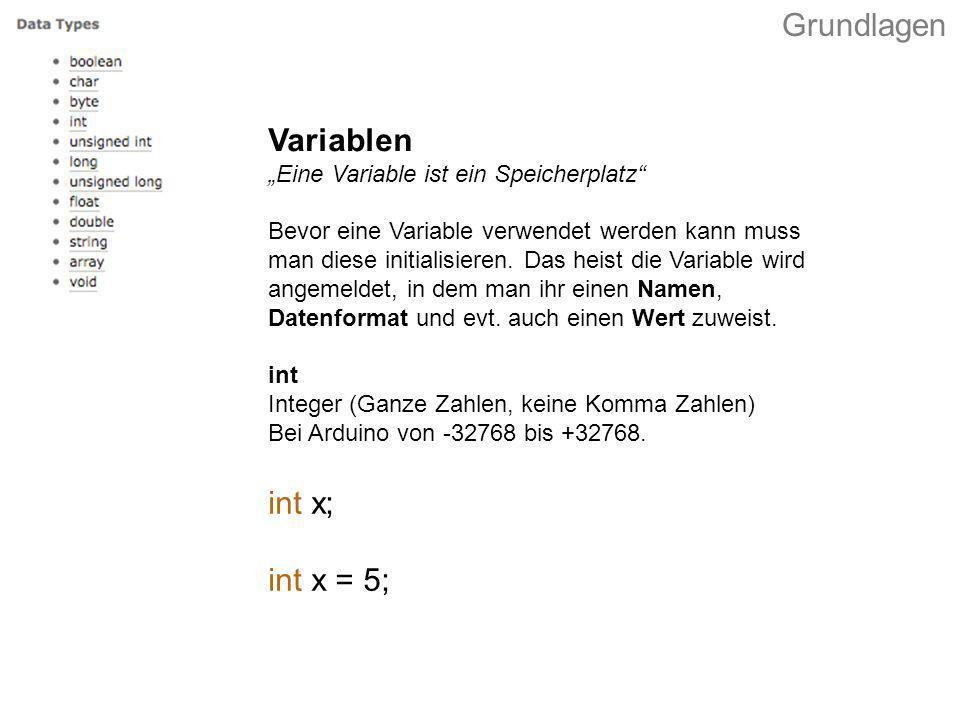 int x; int x = 5; Variablen Eine Variable ist ein Speicherplatz Bevor eine Variable verwendet werden kann muss man diese initialisieren. Das heist die